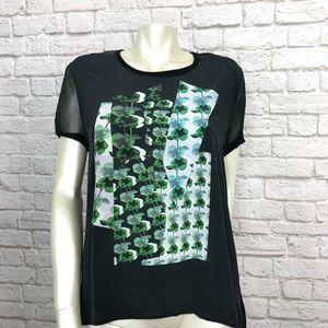 Gerard Darel Graphic Tee Silk & Linen Top Short